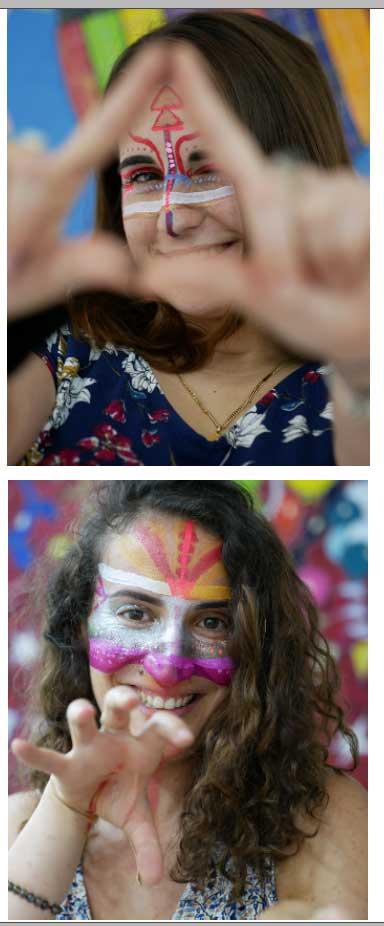 portrait-femme-make-up-tribal-joie-bonheur-sourire-femme-transformation